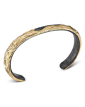 David Yurman - 18K Yellow Gold & Forged Carbon Waves Cuff Bracelet