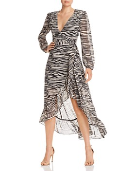 WAYF - Only You Zebra-Print High-Low Wrap Dress - 100% Exclusive