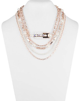 Carolee - Chain & Resin Multi Row Necklace, 16""