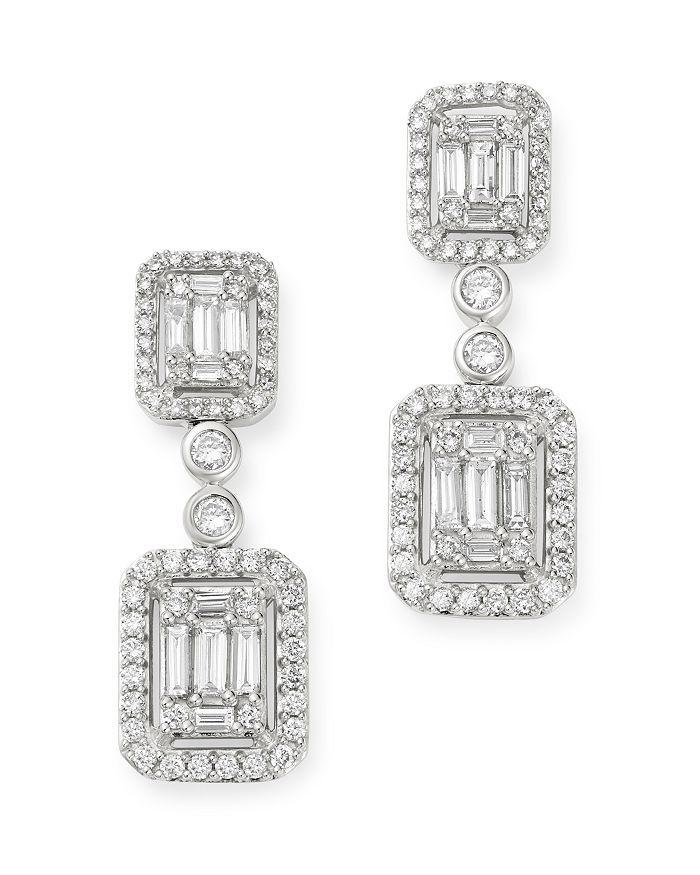 Bloomingdale's - Diamond Mosaic Drop Earrings in 14K White Gold, 2.0 ct. t.w. - 100% Exclusive