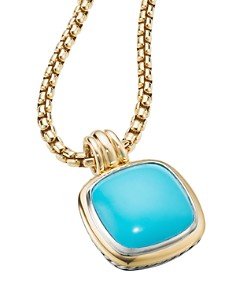 David Yurman - Sterling Silver & 18K Yellow Gold Albion Reconstituted Turquoise Pendant
