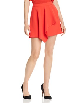 Alice and Olivia - Nicky Asymmetric Draped-Overlay Mini Skirt