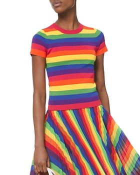 MICHAEL Michael Kors - Short-Sleeve Rainbow Sweater