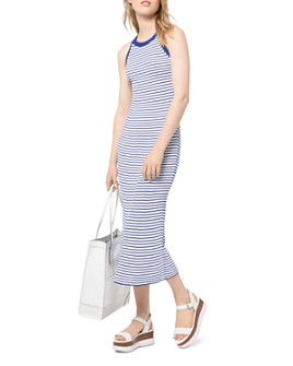 MICHAEL Michael Kors - Striped Racerback Midi Dress