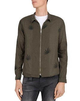 The Kooples - Leaf Print Regular Fit Zip-Front Shirt