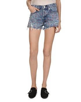b17dec740d The Kooples - Studded Denim Mini Shorts in Snow Blue ...