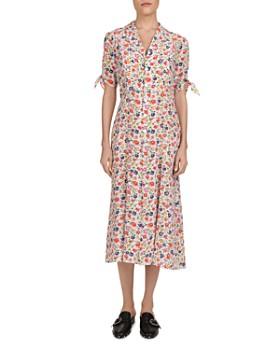 dbb47e11325 The Kooples - Free Flowers Tie-Cuff Silk Midi Dress ...