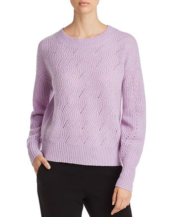 C by Bloomingdale's - Balloon-Sleeve Pointelle Cashmere Sweater - 100% Exclusive