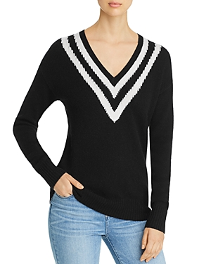 Ladies Colorful 1920s Sweaters and Cardigans History C by Bloomingdales Varsity-Stripe Cashmere Sweater - 100 Exclusive AUD 95.02 AT vintagedancer.com
