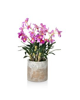 Diane James Home - Blooms Cattleya Orchids Faux Floral Arrangement in Cement Pot