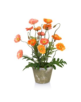 Diane James Home - Blooms Poppies Faux Floral Arrangement in Clay Pot