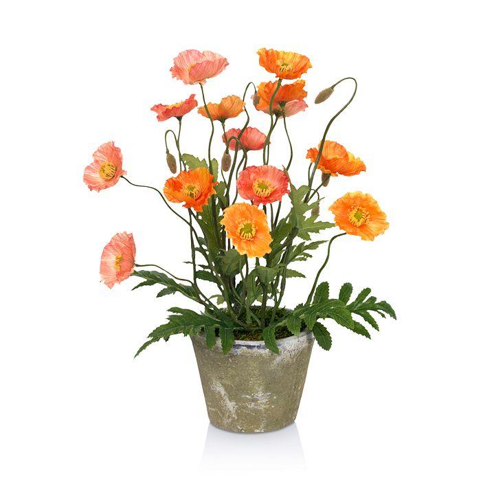 Diane James Home - Blooms Poppies Faux Floral Arrangement in Clay Pot