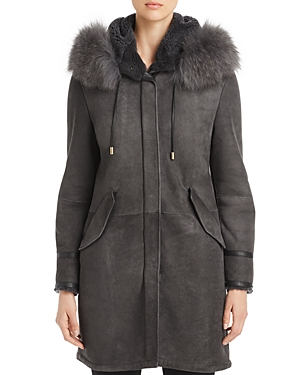 Herno Novelty Hooded Shearling Jacket-Women