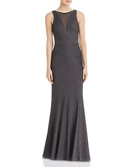Avery G - Metallic-Accent Illusion-Neckline Gown