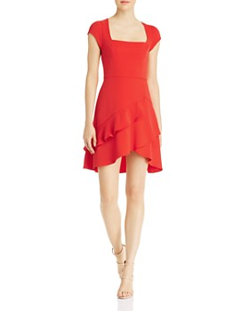 BCBGMAXAZRIA -  Square-Neck Ruffled Mini Dress