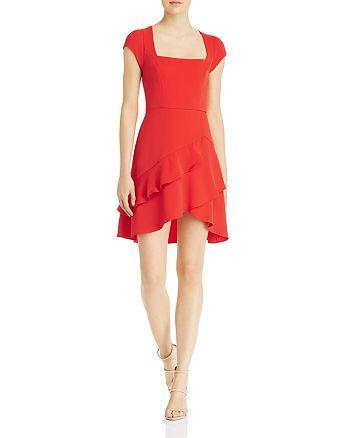 BCBGMAXAZRIA - Square-Neck Ruffled Mini Dress