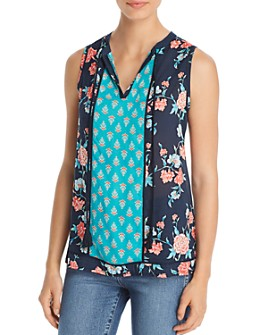 Tolani - Color-Blocked Mixed Floral-Print Top