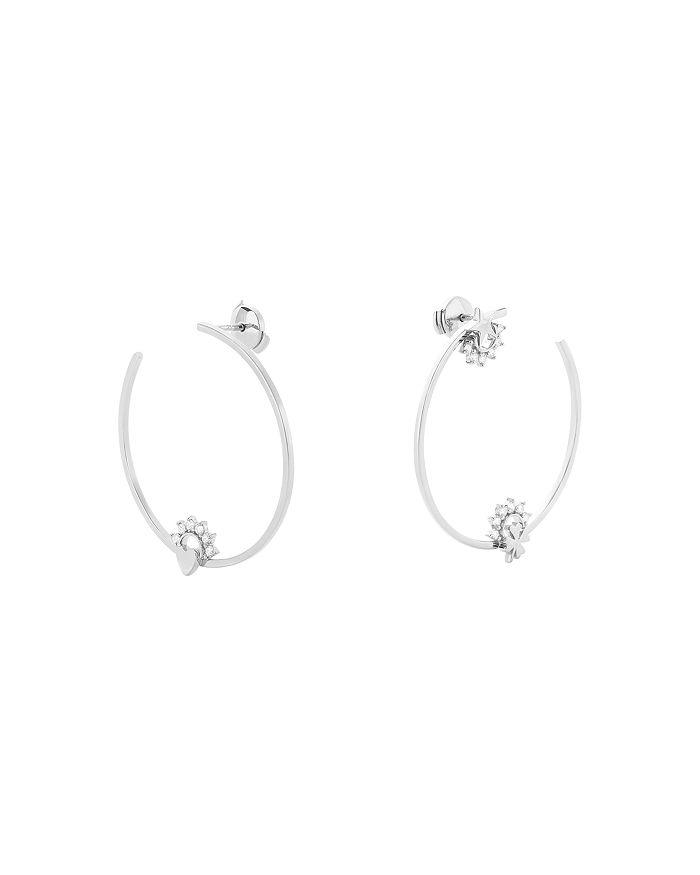 Nouvel Heritage - 18K White Gold Mystic Diamond Motifs Hoop Earrings