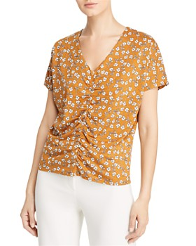 Kenneth Cole - Ruched Floral-Print Blouse
