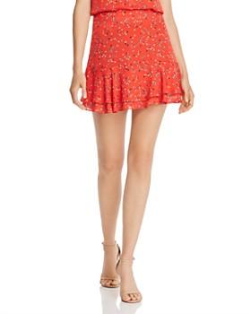 AQUA - Flounced Ditsy Floral-Print Mini Skirt - 100% Exclusive
