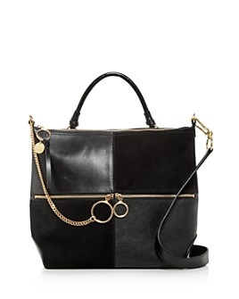 See by Chloé - Emy Large Color-Block Leather & Suede Shoulder Bag