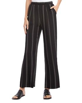 Karen Kane - Floral Stripe Wide-Leg Pants