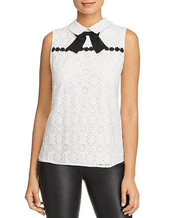 KARL LAGERFELD PARIS - Sleeveless Lace Bow-Detail Blouse