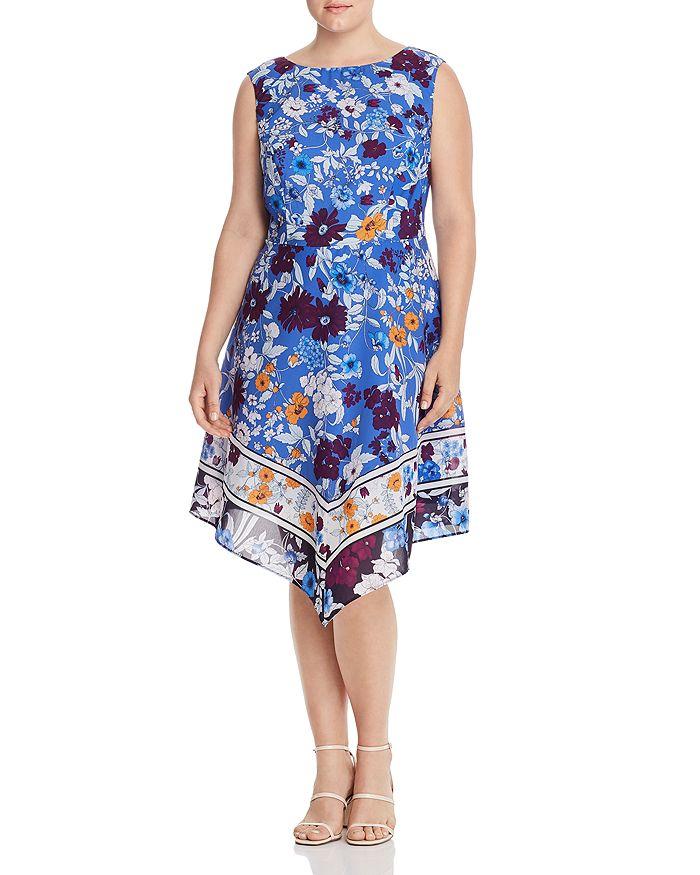 Adrianna Papell Plus - Sleeveless Floral-Print Dress