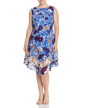 Adrianna Papell Plus Sleeveless Floral Print Dress