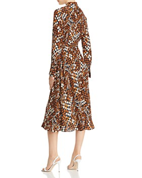 Equipment - Relle Houndstooth Silk Midi Dress