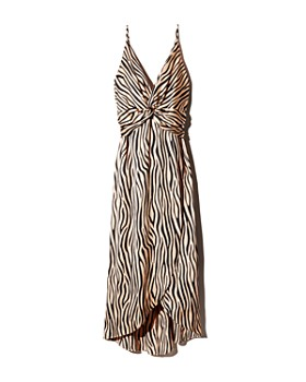 AQUA - Twist-Front Zebra Print Dress - 100% Exclusive