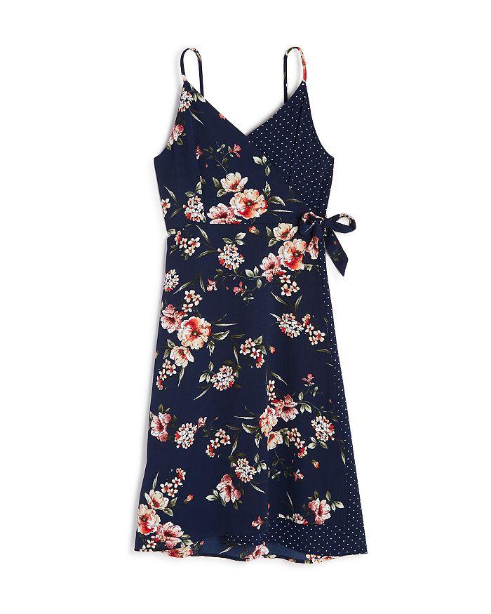 AQUA - Girls' Mixed-Print Wrap Dress, Big Kid - 100% Exclusive