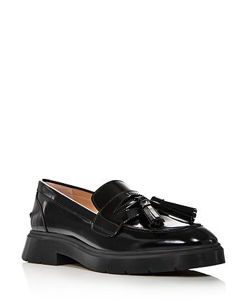 Stuart Weitzman - Women's Plum Patent Leather Tassel Loafers