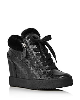 Giuseppe Zanotti - Women's Shearling-Lined Wedge Heel Sneakers