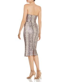 Dress the Population - Strapless Sequin Snake-Print Midi Dress