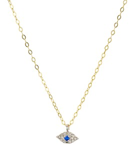 """Bloomingdale's - Diamond-Encrusted Evil Eye Pendant Necklace in Gold-Plated Sterling Silver, 15.5"""" - 100% Exclusive"""