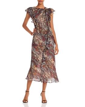 Rebecca Taylor - Snake-Print Silk Blend Midi Dress