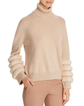 Lafayette 148 New York - Mink Fur-Trim Cashmere Turtleneck Sweater