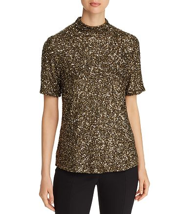 Lafayette 148 New York - Short-Sleeve Sequined Top