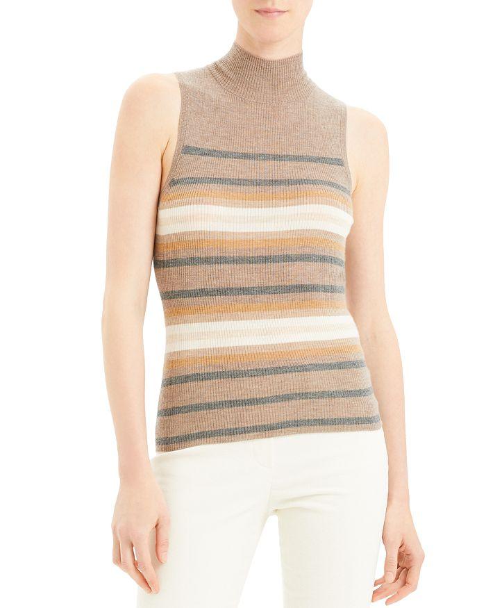 Theory - Sleeveless Striped Cashmere Turtleneck