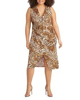 Rachel Roy Plus - Bret Ruched Tiger-Print Jersey Dress