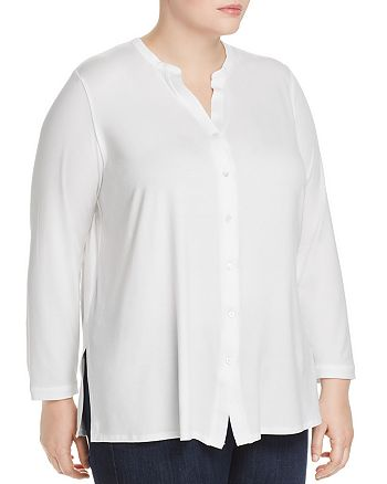 Eileen Fisher Plus - Banded-Collar Tunic Top