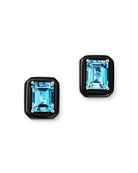 Bloomingdale's - Swiss Blue Topaz & Black Onyx Stud Earrings in 14K White Gold - 100% Exclusive