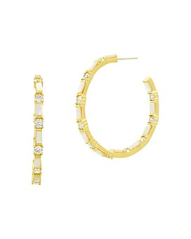 Freida Rothman - Color Theory Pavé & Baguette Hoop Earrings in 14K Gold-Plated Sterling Silver