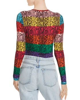 Alice and Olivia - Delaina Rainbow Snake Print Cropped Top