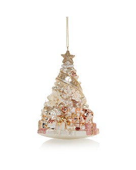 Bloomingdale's - Floral Christmas Tree Glass Ornament - 100% Exclusive