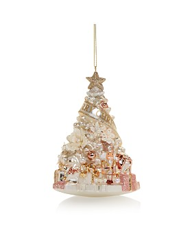Bloomingdale's - Floral Christmas Tree Glass Ornament - 100% Exclusive ...