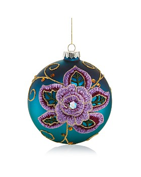 Bloomingdale's - Blue Embroidered Floral Glass Ball Ornament - 100% Exclusive