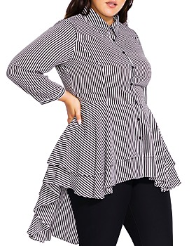 City Chic Plus - Striped High/Low Hem Shirt