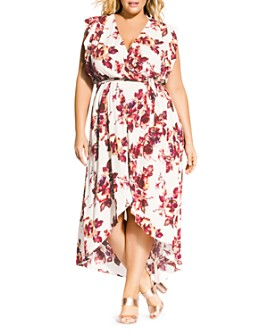 City Chic Plus - Monet Floral-Print Faux-Wrap Maxi Dress